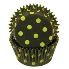 Black with Lime Polka Dots Cupcake Cases or Baking Cups - 50 Pack / Halloween