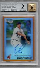2010 Bowman Chrome Orange Ref. Drew Pomeranz 08/25 Autograph BGS 9 w/ 10 Auto