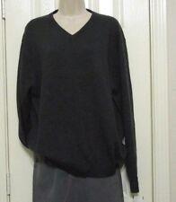 Bruno Ferraro Mens V-neck Pullover XL 100% Extra Fine Merino Wool Charcoal NWT
