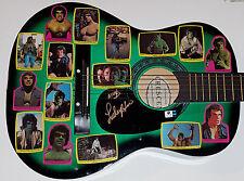 LOU FERRIGNO Signed Green Guitar w/ Vintage Incredible Hulk Design Stickers GAI