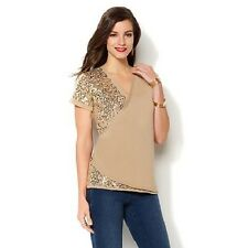 IMAN Global Chic Luxurious Sequin Top in Champagne Gold, Small