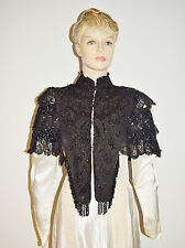 1800s Victorian Silk Glass Beaded Mourning Capelet Antique Shawl • Vintage Cape