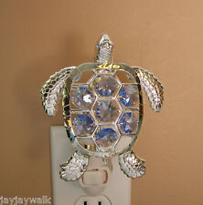 """made with SWAROVSKI BLUE CRYSTAL ELEMENTS """"SEA TURTLE"""" NIGHT LIGHT SILVER PLATED"""