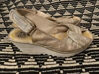 Fly London Yata Sandals Wedges Pearl Women's Size 39
