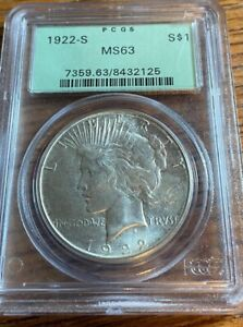 1922-S Peace Silver Dollar $1 PCGS MS 63 OGH Light gold toning on obverse