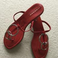 PRADA RED PATENT LEATHER THONG SANDALS SIZE 36.5 MADE IN ITALY