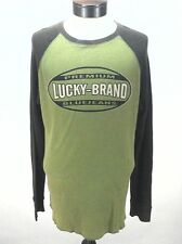 EUC $69 LUCKY BRAND Mens SHIRT Brown/Green THERMAL L/S  Logo  RAGLAN XL **RARE