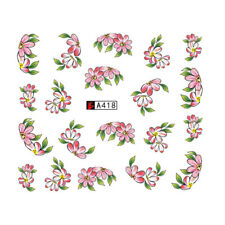 Nail Art Water Decals Stickers Transfers Pink White Flowers Tulips Floral (A418)