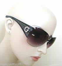 "NEW GUESS SILVER,BLACK FRAME+PURPLE 100% UV LENS CRYSTAL ""G"" SUNGLASSES-6489"