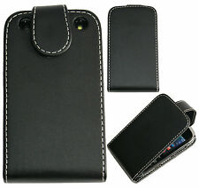 Extra Fine Leather Flip Case Cover Pouch For BlackBerry Curve 9220 9320 - Black