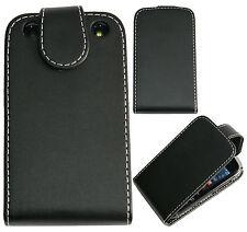 Extra Fino Cuero Flip Funda Protectora Bolsa Para Blackberry Curve 9220 9320-Negro