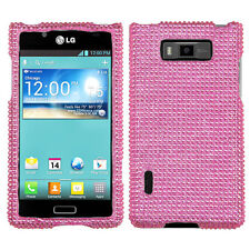 LG Optimus Showtime Crystal Diamond BLING Hard Case Phone Cover Pink