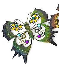 Wandbild Schmetterling Metall grün Wandhänger Dekohänger Dekobild 26 x  27 cm