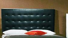 Extra Tall Wall Mounted Queen Size Tufted Black Genuine Leather Headboard