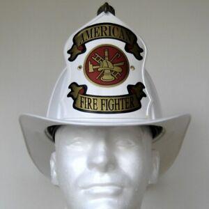 "Traditional ""American Firefighter"" Texaco Style Helmet - White"