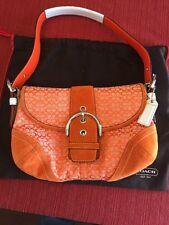 Authentic Designer Coach Handbag Orange And White Suede Leather And Monogram C