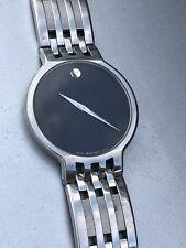 Movado Esperanza Mens Black Dial Swiss Quartz Watch. Swiss Made. Museum Dial