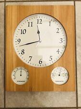 John Lewis solid light oak wall clock thermometer hygrometer moisture meter