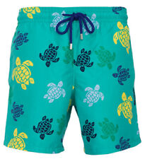 Vilebrequin Moorea Swim short Flockees Coral and Turtles Veronese Green Bathing