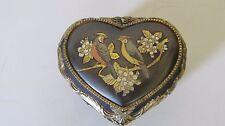 Vintage Black and Gold Heart Shaped Music Box, Sankyo