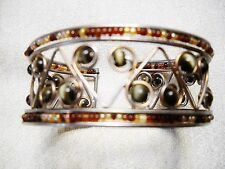 Stunning Tigers Eye & Tiny Seed Bead Cuff Bracelet In Silver Tone Setting