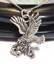 "EAGLE & SNAKE_Pendant on 20"" Chain Necklace_Bird Falcon USA Feather Silver_54N"