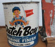 NOS 1950s DUTCH BOY PINK MARINE EPOXY PAINT Pint Can -FLAME CORAL- VTG ATOMIC