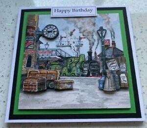 Handmade Birthday 3D decoupage vintage diesel steam train card railway station