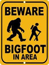 Retro Tin Signs Beware Bigfoot In Area Poster Metal Plate Wall Decor