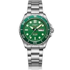 Rotary Super 7 Hulk Scuba Diver Auto Green Dial Steel Bracelet Men Watch S7S003B