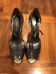 Enzo Angiolini Grey Ladies Open Toe Heels Size 8M
