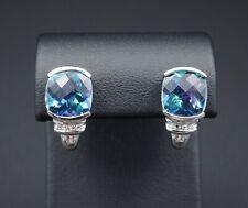 3ct 10k White Gold Blue Mystic Topaz Diamond J-Hook Post Earrings EG1190