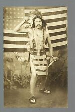 RP c1910 INDIAN Indians STUDIO SHOT Beaded Moccasins LARGE AMERICAN FLAG