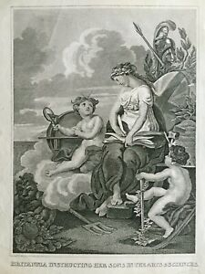 1823 Antique Print: Britannia Instructing Her Sons in the Arts and Sciences