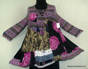 Artist Made Upcycled Art to Wear Unaverage Rags NWT Swing Top B50 1X 2X