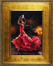 Espagnol Danse Rouge Robe Véritable Fait Main Cadre Tableau Images G16676
