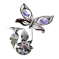 Crystocraft Butterfly & Flower Crystal Ornament With Swarovski Elements Gift Box