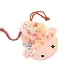 Japanese Chirimen Goldfish Cellphone Purse Cosmetic Bag Large, Pink