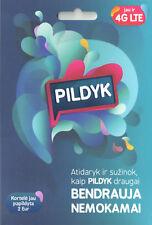 New PILDYK Tele2 Lithuania prepaid SIM card