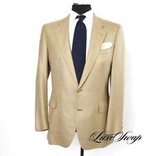 #1 MENSWEAR Huntsman Savile Row Made in England Silk Blend Sand Slub Jacket 42 L
