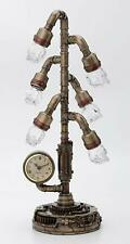 "Steampunk Six Branch Clock Stand Lamp Light Crystal Skull Bulb LED Lighting 17"""