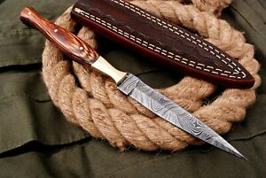 NEW HANDMADE DAMASCUS STEEL DAGGER KNIFE THROWING KNIFE HUNTING KNIFE BRASS WORK