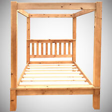 4ft6 Double Four Poster Bed Frame Solid Pine Wood HIDDEN FITTINGS Chunky LF