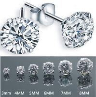 3mm-8mm Women Men Silver Plated Cubic Zirconia Round Stud Earrings Jewelry