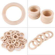 50pcs Unfinished Natural Wooden Round Rings Jewellery Making DIY Wood Craft 50mm