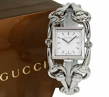 NEW Gucci Signoria 116 Polished Steel Ladies Diamond Watch YA116307