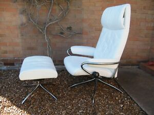White Stressless 'Metro' Recliner Chair and Footstool