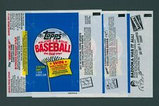 1983 TOPPS BASEBALL WAX PACK WRAPPERS / LOT OF 3 DIFFERENT VARIATIONS