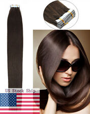 Seamless Tape in Skin Weft Remy Human Hair Extensions Dark Brown 16Inch 20Pcs US