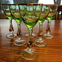 6 Mid Century Modern CZECH BOHEMIA Space age Glasses Clear gold green Barware
